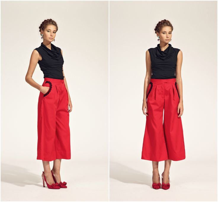 ZUZANA VESELÁ ATELIER. Culottes are all the rave. Add red and a peek of black, and you have the mixture for the perfect summer pant. #ss16 #zuzanavesela #czechdesigner #pfsshowroom #fashion #summer #color @zvesel