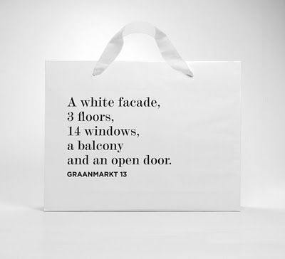 <3 |Shopping bag from the Graanmarkt 13 store in Antwerp. Nice text.