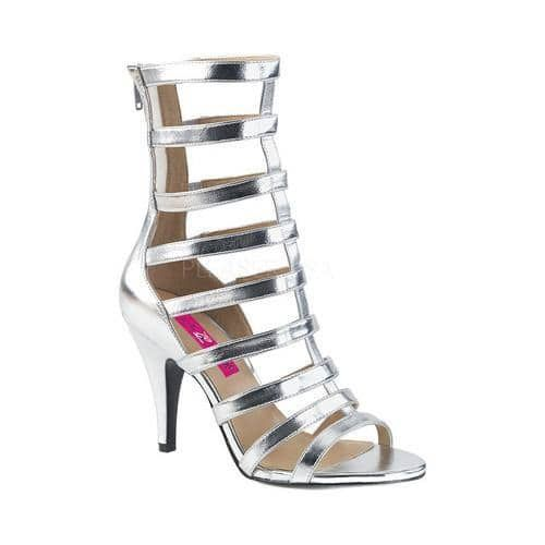 Women's Pleaser Pink Label Dream 438 Cage Shoe Silver