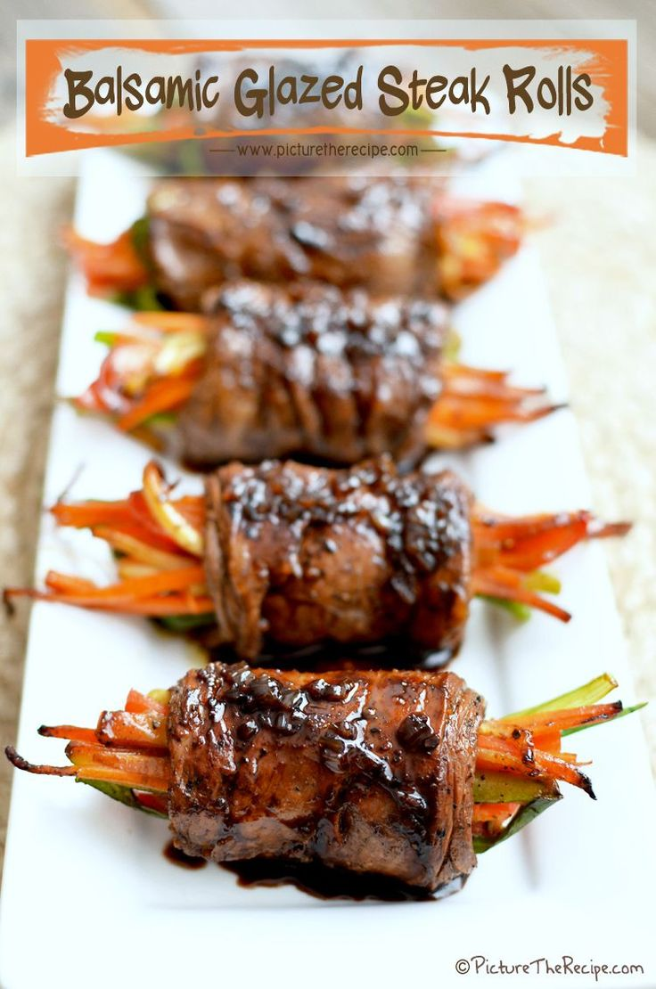 Balsamic Glazed Steak Rolls - I'll use coconut aminos instead of Worcestershire