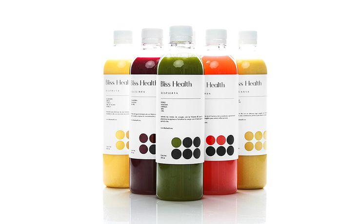 Bliss Health juice packaging