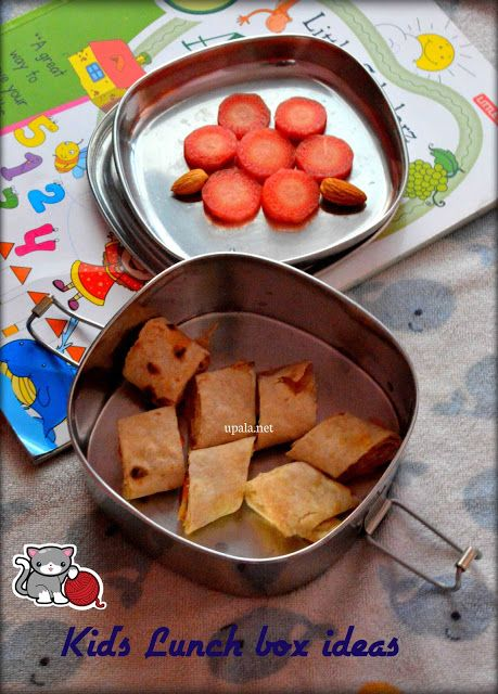 Chapathi roll, carrot and badam-kids lunch box ideas  http://www.upala.net/2016/01/chapathi-rollcarrot-and-badam-kids.html