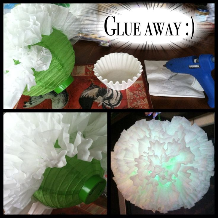 Dollar tree paper lantern with light! $1.00 One pack of coffee filters 150 count $1.00  One pack of AAA batteries 8 count $1.00 (only need 2)  Just scrunch the bottom part of the filter a little smaller and make the bottom flat to crate a fluffy flower look then just glue away! Until u reach the end... Note: If u want the color to show through, space out the placement of the filters on the lantern