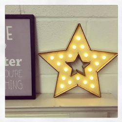Battery Wooden Star with Warm White LED Ball Lights