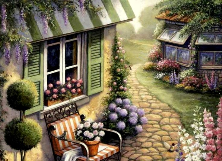 Cute painting...chair, flowers, house, painting, shutters, topiary, trees, wisteria