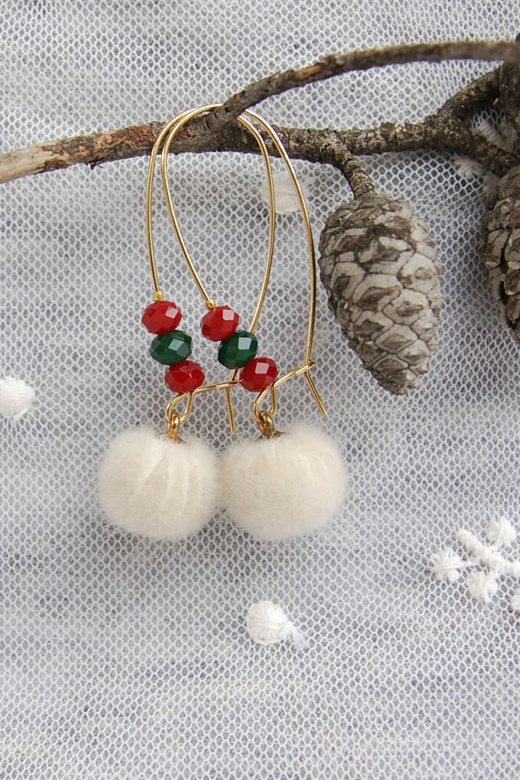 Christmas jewelry, Pom Pom Earrings, Winter jewelry, White Pom poms Earrings, Faux Fur Earrings Holiday jewelry, Christmas Long Earrings Dangle, Xmas Earrimgs, for Teen Gifts, Christmas and New Year 2018