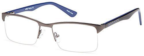 8b63a03496 DALIX Mens Half Rim Prescription Glasses Frames 54-17-140 (Gunmetal ...
