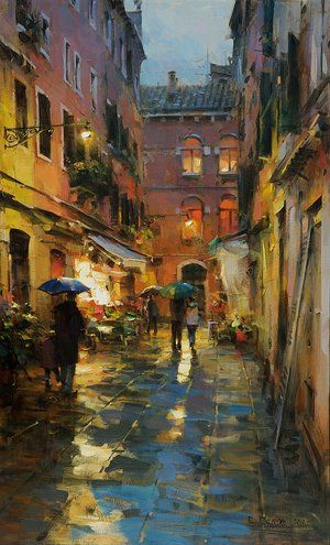 Dmitri Danish - Rainy Venice. For more information about the Danish collection, please visit our website siennafineart.com or call 305.600.4484