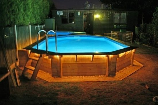 above ground pools – why didnt I think of rope lighting around the pool?!?! gonna have to try it!!