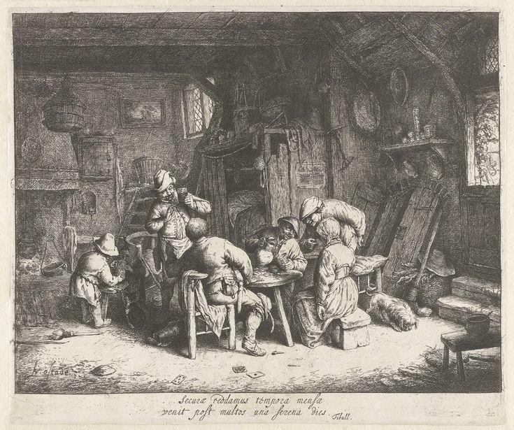 Adriaen van Ostade | Boeren aan een maaltijd in een herberg, Adriaen van Ostade, 1647 - 1652 | In een rommelig vertrek in een herberg gebruiken vier mannen en een vrouw een maaltijd. De drank vloeit rijkelijk en de mannen roken pijp. Een jongen helpt een klein kind met drinken uit een kruik. Op de grond liggen speelkaarten, een gebroken pijp en een lege kan. Onder de voorstelling staat een Latijns vers van de dichter Tibull in twee regels: Securae reddamus tempora mensae/ venit post multos…