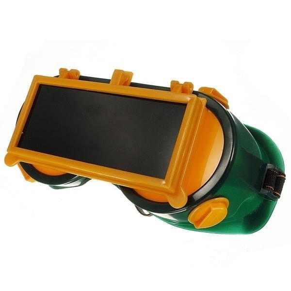 Welding Goggles Flip Up Protection Darken Glasses Rectangle Safety. Description:    material: Vinyl Resin  color: Dark Green & Orange Yellow  quantity: 1 Pc  welding Goggles With Flip Up Glasses  fits For Cutting Grinding Welding    features:    1.lightweight And Durable,comfortable Frame Offers All Round Protection  2.vinyl Resin Material, Hooded Vents  3.filter Using 5 # -9 #, For Different Welding Requirements  4.double Clamshell Design, The Outer Layer Is Black Lenses,the Inner Layer Is…
