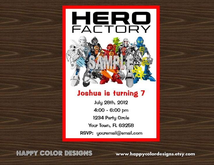 Lego Hero Factory Invitation - Lego Party Invitation - Lego Invitation - Hero Factory Party Invitation - Lego Birthday - Lego Hero Factory