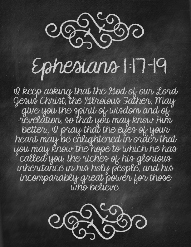 Ephesians 1:17-19 - what a great prayer for our friends/family members!
