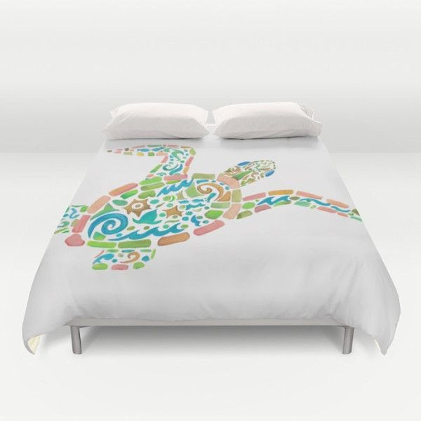 Sea Turtle Duvet Cover or Comforter Surf Turtle Duvet or Comforter... ($80) ❤ liked on Polyvore featuring home, bed & bath, bedding, duvet covers, home & living, silver, blue green bedding, tribal bedding, coastal bedding and aqua bedding