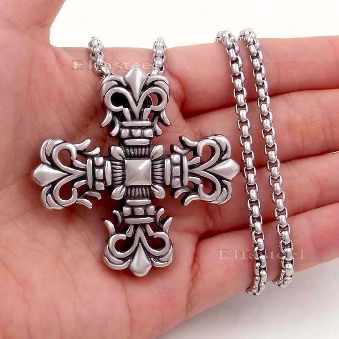 Find More Pendants Information about Men Fleur De Lis Cross 316L Stainless Steel Pendant Box Chain Necklace Jewelry Wholesale SP020,High Quality jewelry white,China jewelry seen on tv shows Suppliers, Cheap jewelry finder from Elfasteeel Flagship Store on Aliexpress.com