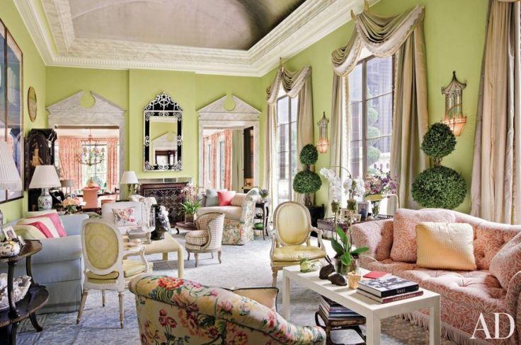 Шторы в американском стиле для большой гостиной. Марио Буатта (Mario Buatta) фото | Шторы от лучших дизайнеров мира | Декатель Новосибирск