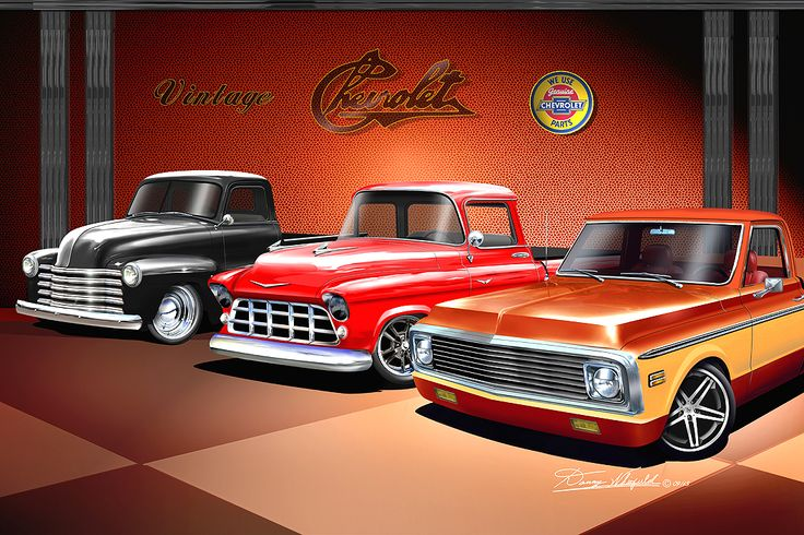 Classic Truck Fans, get ready to hang this sizzling art work on your wall