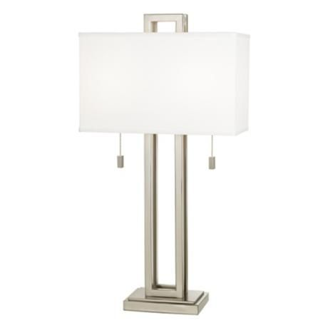 Possini Euro Design Brushed Nickel Rectangle Table Lamp $139.99