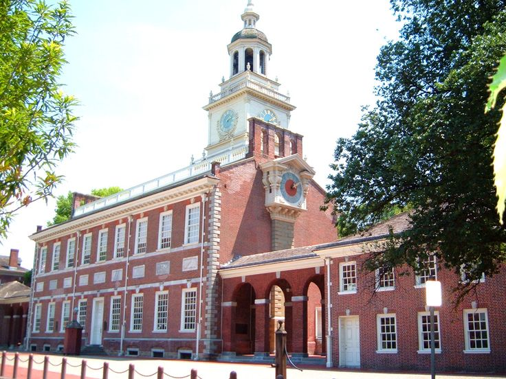 Independence Hall North Side    The universal principles of the right to revolution and self-government as expressed in the U.S. Declaration of Independence (1776) and Constitution (1787), which were debated, adopted, and signed in Independence Hall