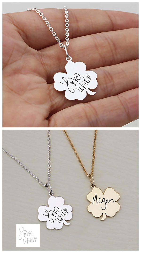 777842d786080 Women fashion Lucky Four-leaf clover hand writing name necklace ...