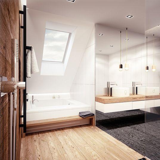Bathroom design in Ruda Śląska POLAND - archi group. Łazienka w domu jednorodzinnym