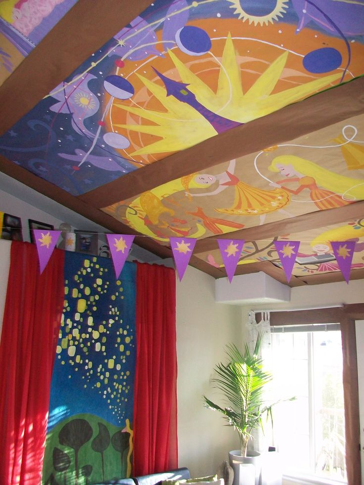 Ceiling mural and curtain reveal with bunting at front //OH OH OHHH THIS IS AMAZING