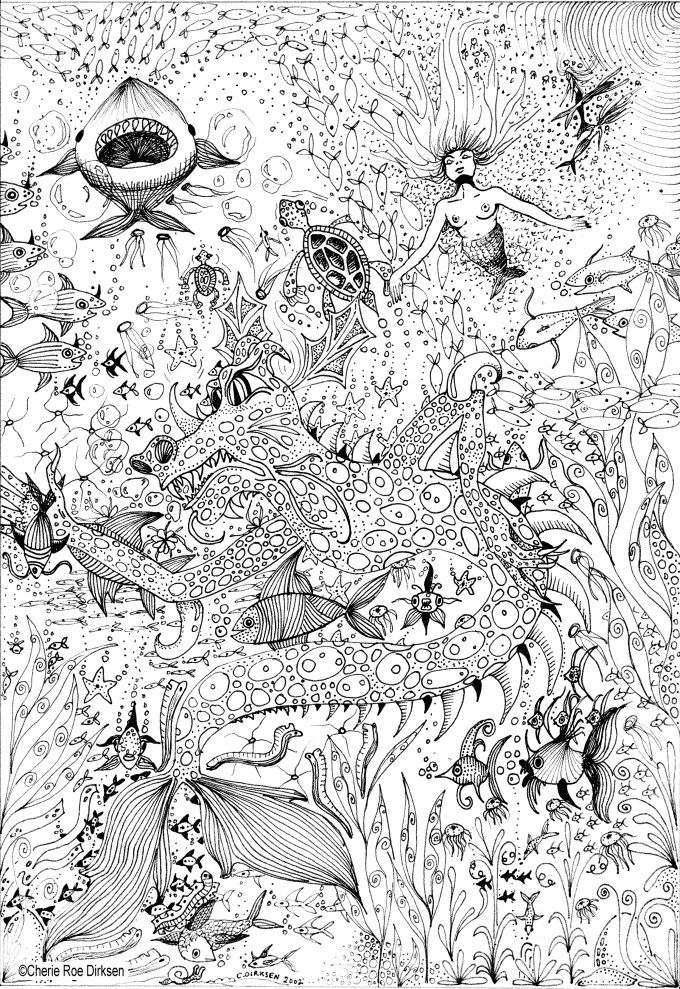 Watery Wonder World By Cherie Roe Dirksen Adult Coloring