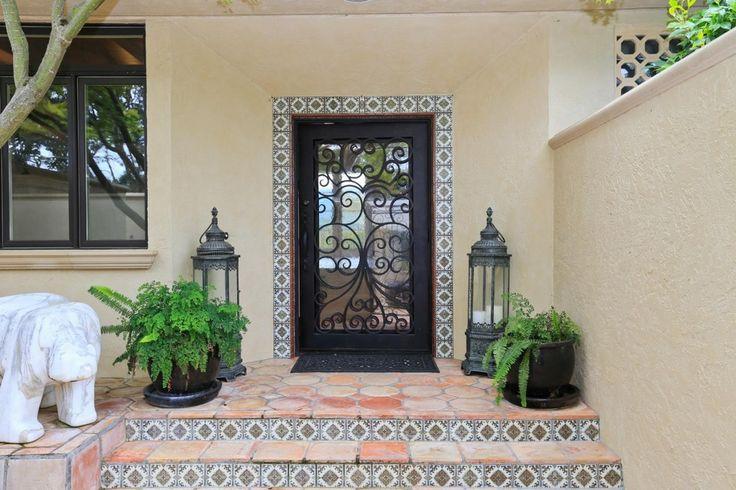 Southwestern Front Door with exterior tile floors in Portola Valley, CA | Zillow Digs