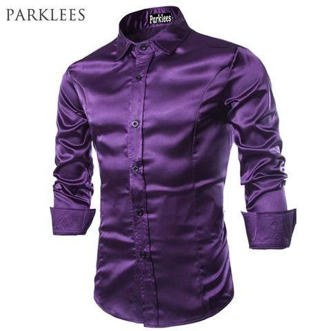 07117ceb339 New Men Shirt Long Sleeve Chemise Homme 2016 Fashion Design Purple Mens  Silk Shirt Slim Tuxedo Dress Shirts Brand Camisa Social