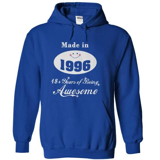 Made in 1996 - 18 Years of Being Awesome - #sweatshirt ideas #sweaters for fall. GET IT => https://www.sunfrog.com/Birth-Years/Made-in-1996--18-Years-of-Being-Awesome-RoyalBlue-Hoodie.html?68278