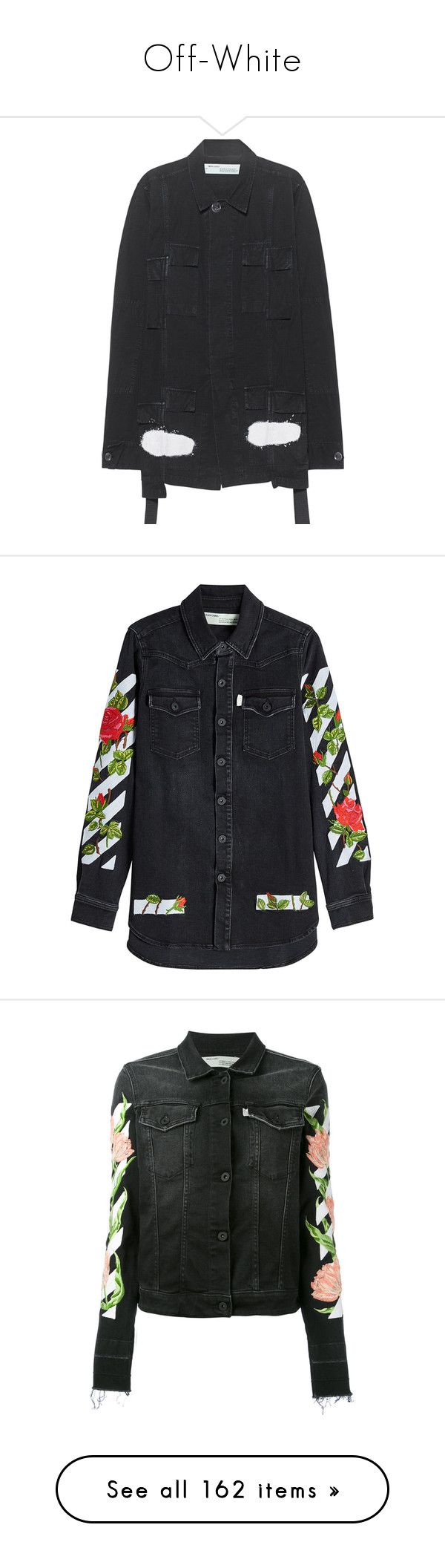 """""""Off-White"""" by truedisaster ❤ liked on Polyvore featuring men's fashion, men's clothing, men's outerwear, men's jackets, mens cotton military jacket, mens cotton jacket, mens oversized denim jacket, mens leopard print jacket, mens cotton field jacket and outerwear"""