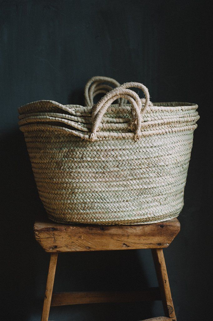 These are the ultimate traditional market basket-- hand woven sisal handles are the easiest for the craftspeople to make, and are used all around the house in Morocco. Palm woven, and very sturdy, the