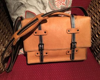 Brown Leather Messenger with Antique Key by UrbanHeirlooms