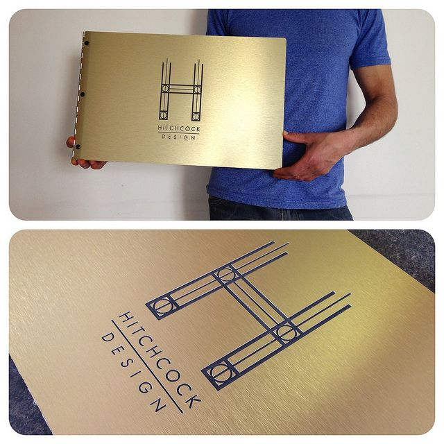 Custom interior design portfolio book with engraving treatment on brushed gold aluminum by KloPortfolios.com, via Flickr