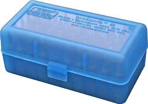 MTM 50 Round Flip-Top Rifle Ammo Box WSSM 500 S&W Safe Storage Blue USA Made #MTM
