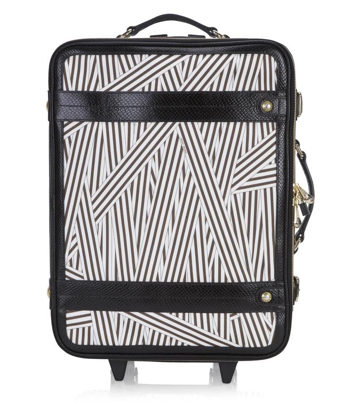"""Henri Bendel - disturbed stripe wheelie - designer luggage - 20""""H x 15""""W x 9""""D"""