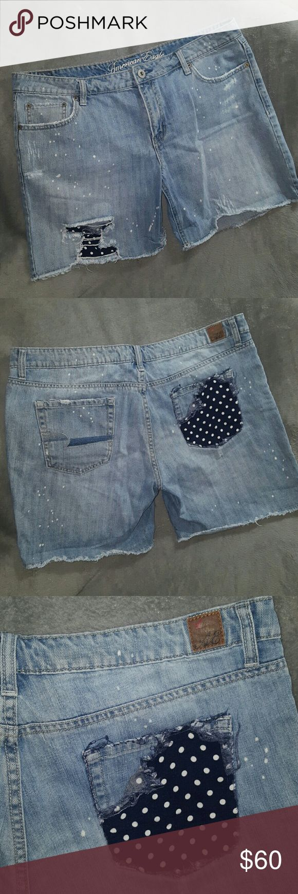 DISTRESS High Waist Jean Shorts AMERICAN Eagle NEW DISTRESS High Waist Jean Shorts AMERICAN Eagle New ~ Size 14 ~ 100% cotton. Distressed Jean shorts as purchased. Has hole with material behind, frays and faux paint splatters. AMAZING Pair of shorts. Will definitely be your go to shorts this summer! I ship daily (# B2 location) American Eagle Outfitters Shorts Jean Shorts