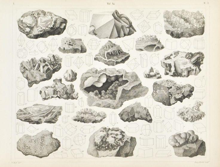 Tin Iron Sapphire Silica Copper Antique Mineralogy Print 1857