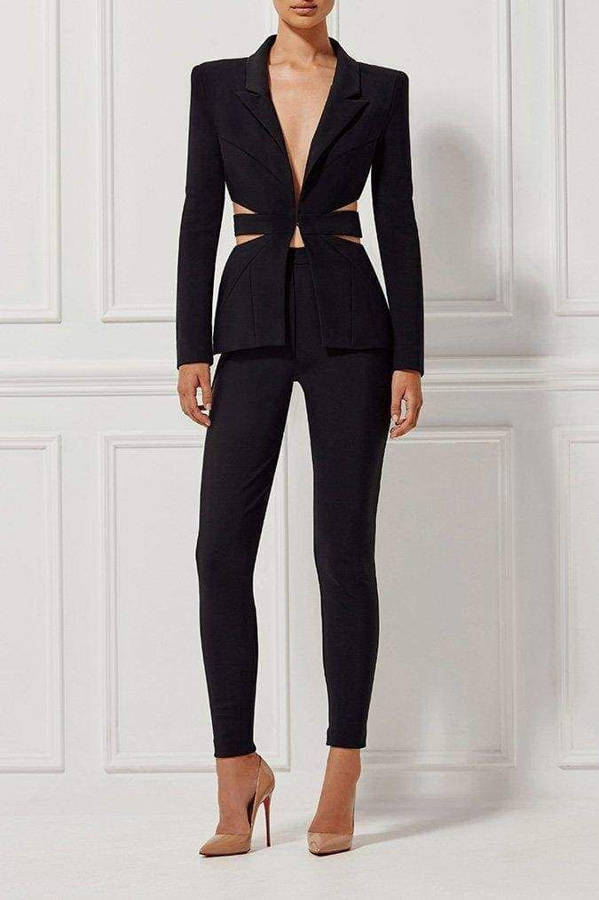 464c9f84b3 A clean. sexy and chic design black pant suit v-neck button front jacket