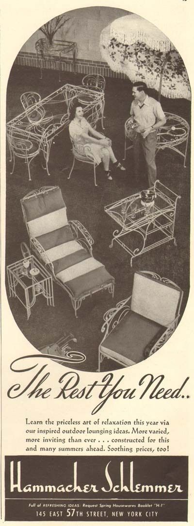 Wrought iron patio furniture 1940s ad from    Hammacher Schlemmer