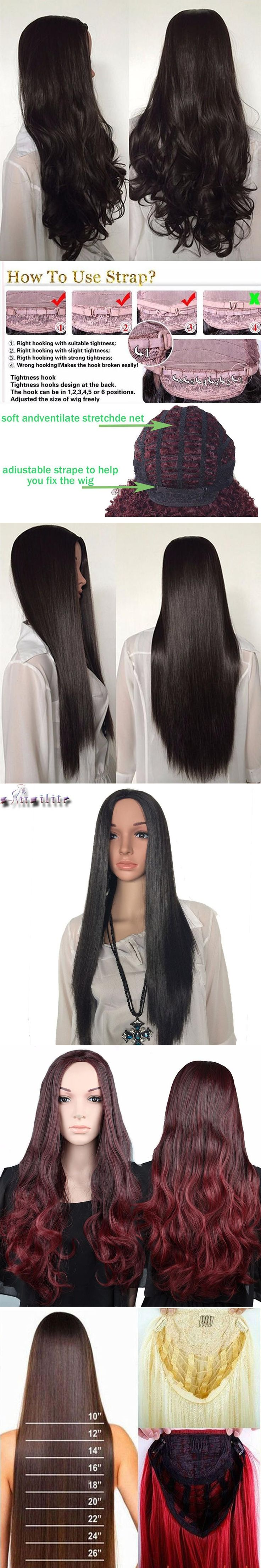 """S-noilite Long 28"""" Half Wigs 300g Natural Straight Synthetic Half Wigs For Women Natural Hairpieces Heat Resistant Hair"""