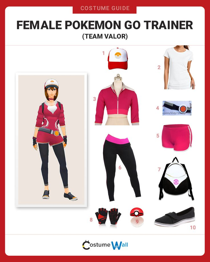 Get the cosplay look of the Team Valor female trainer from Pokemon Go as you prepare to battle at the local Pokegym.