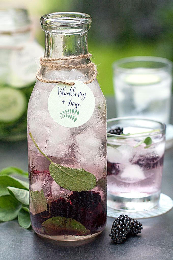 Saturday Sips! Flavored Water - Blackberry + Sage. Tags from Evermine {www.evermine.com}