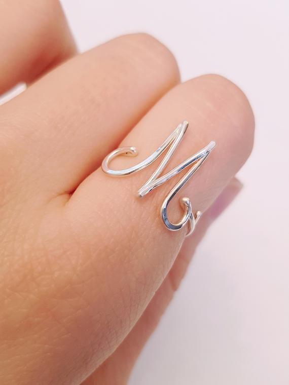 Initial Letter M Ring M 22k Rose Gold Initial Ring Rose Gold M Etsy Gold Initial Ring Rose Gold Initial Initial Ring