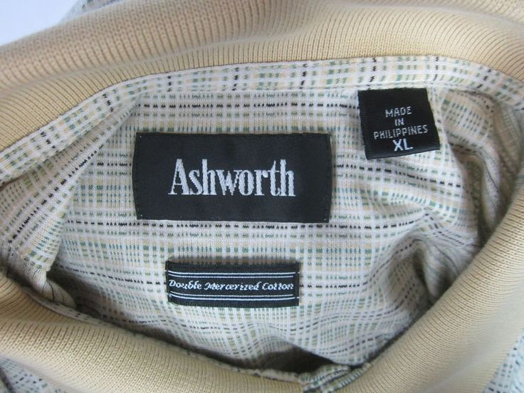 Ashworth Golf Mens Tan Plaid Polo Short Sleeve Shirt Double Mercerized Cotton XL #AshworthGolf #PoloRugby