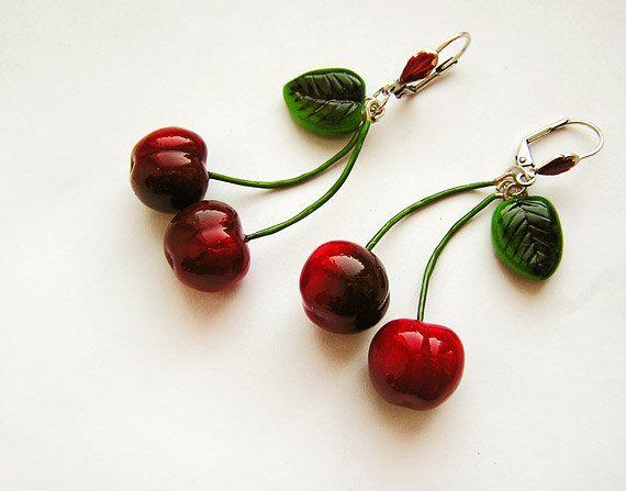 Cherry Earrings Red, cherry jewelry, bright jewelry, handmade, red jewelry, pin-up, cherries