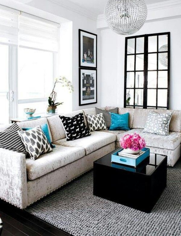 Furniture: Small Square Black Glass Coffee Table Contrast With L Shaped White  Sofa Plus Colorful Part 81