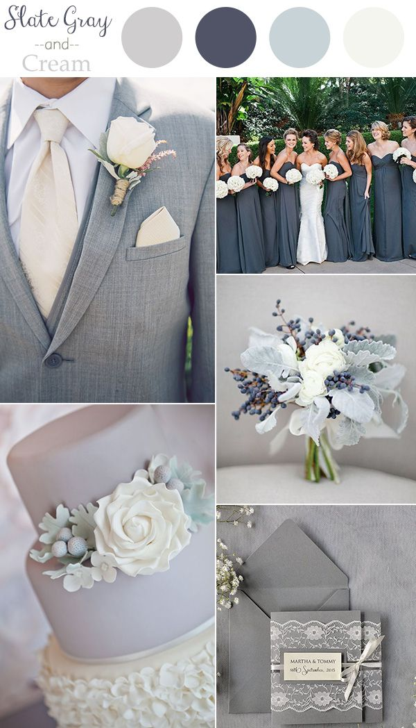 2016 trending slate gray and cream neutral wedding color ideas