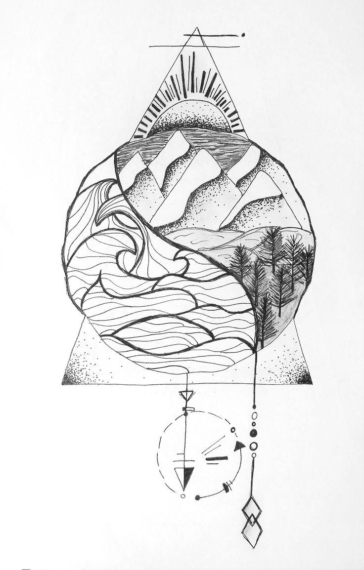 sea and land nautical natural ying yang geometric zentangle tattoo design illustration