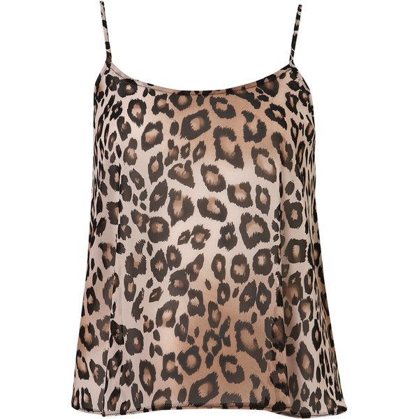 Petite Animal Print Cami Top (93 BRL) ❤ liked on Polyvore featuring tops, shirts, tank tops, blouses, blusas, brown, cami tank, petite tops, chiffon tank top and petite tank tops